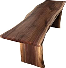 Live Edge Wooden Bench – Solid Wood Dining Bench – Rustic Home Décor Furniture – Natural Edge Wooden Slab Bench (4' Long, Walnut Wood with Clear Coat)