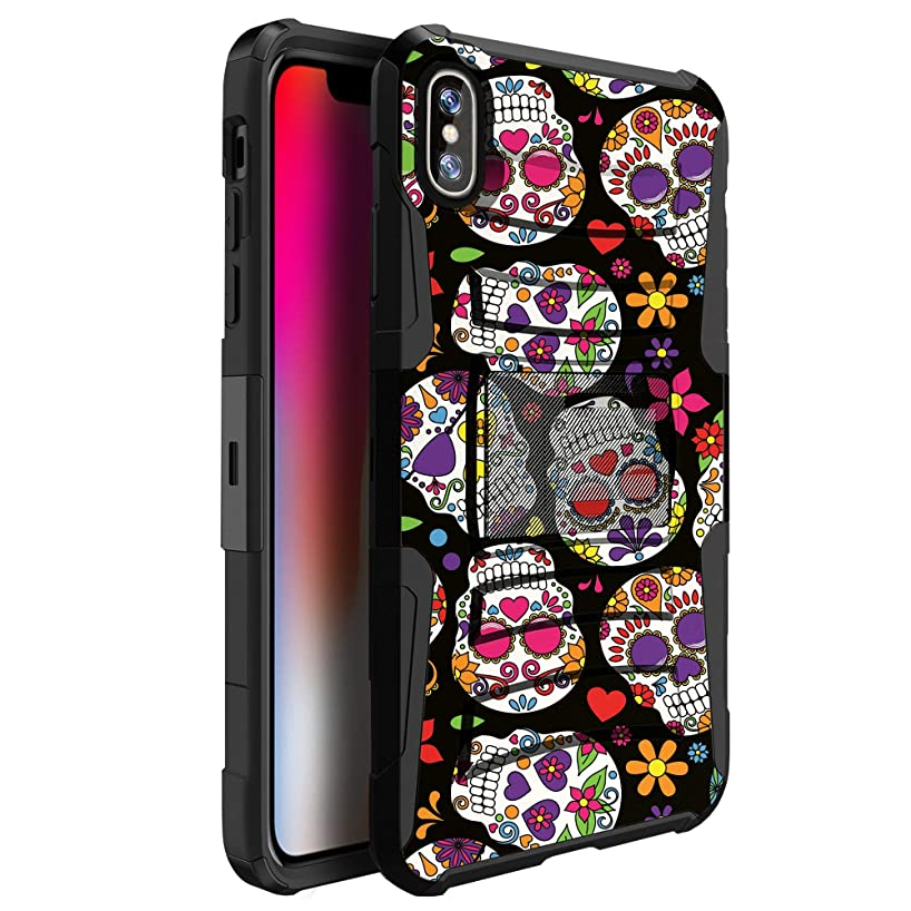 MINITURTLE Case Compatible with Apple iPhone XS Max (2018) [Clip Armor Series] [Built in Kickstand Feature][Removable Belt Clip Included] - Cute Sugar Skulls