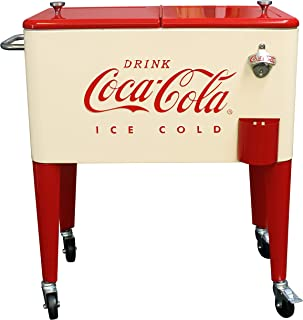 Leigh Country CP 98111 Cream and Red 60 Qt. Coca-Cola Rolling Cooler, Cream & Red