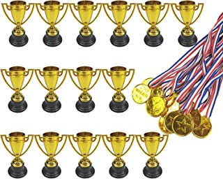 15 Pcs Plastic Toy Gold Award Trophy Cups and 15 Pcs Gold Winner Medals Great Party Favors for Kids by MOMOONNON