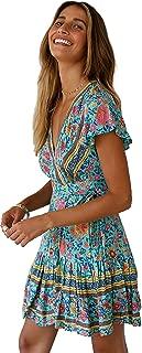 Mujeres Sexy Cuello en V Boho Estampado Floral Mini Vestido Casual Vintage Summer Beach Wrap Sash Corto Vestido de Fiesta por la Noche Verde L