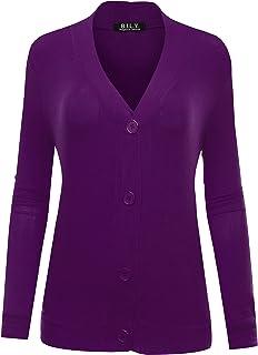BH B.I.L.Y USA Women's Long Sleeve Classic Knit Cardigan
