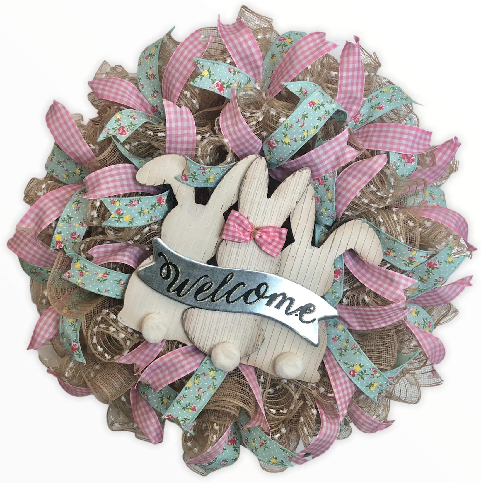Easter Bunny Wreath Welcome Wreath Spring mesh Welcome Wreath Welcome Wreath Easter door Spring Bunny Welcome Wreath Easter Wreath
