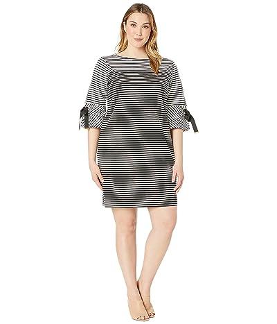 LAUREN Ralph Lauren Plus Size Striped Cotton Dress (Polo Black Multi) Women