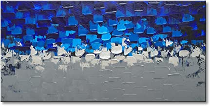 Blue and Silver Abstract Wall Art on Canvas Textured Handmade Oil Painting