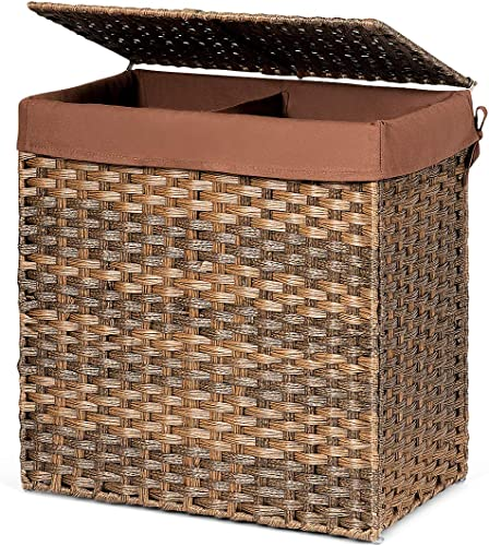 """new arrival Giantex Laundry Basket Foldable and Divided 23.5"""" Rattan Laundry Hamper W/ Removable Washable outlet online sale Liner Bag, lid and Handles, Portable Rectangular Laundry Hamper for Bathroom Bedroom Balcony 2021 (Brown) sale"""