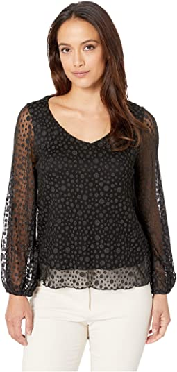 V-Neck Polkadot Sheer Sleeve Top