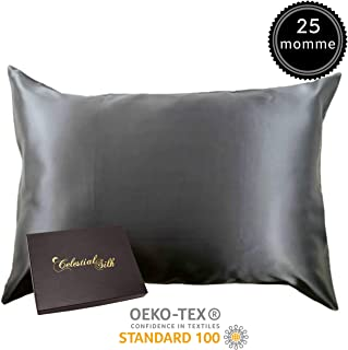 100% Silk Pillowcase for Hair Zippered Luxury 25 Momme Mulberry Silk Charmeuse Silk on Both Sides of Cover -Gift Wrapped- (Queen, Charcoal Gray)