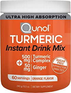 Qunol Turmeric Curcumin Instant Drink Mix, Ultra High Absorption, 500mg + 50mg Ginger, Supports Healthy Inf...