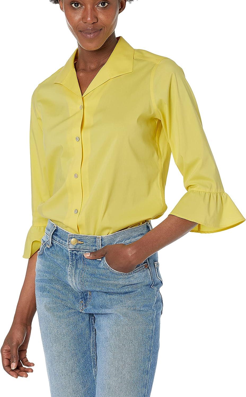 Foxcroft Women's Ruffle Sleeve 超激安 Stretch お気に入 Shirt Non-Iron