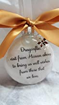 Dragonfly Memorial Christmas Ornament - Dragonflies visit from Heaven - with Topaz Color Crystal Charm and Gold Bow