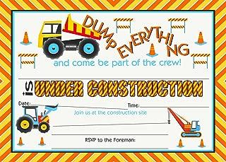 POP parties Construction Party Large Invitations - 20 Invitations + 20 Envelopes