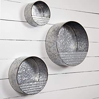 Everly Hart Collection Galvanized Metal Round Hanging Pocket Bins, Set of 3 Decor or Wall Art