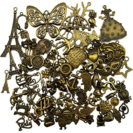 breloques pendentif bronze antique antique pour la fabrication bricolage, bracelet, collier, boucle d'oreille, décoration artisanale (90 pièces)