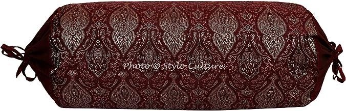 55cm Stylo Culture Copertura del Pouf Poggiapiedi Pouf con Rivestimento Grande Pouf Verde Ricamato Indiano Tessuto Tradizionale Pouf Rotondo Pouf in Tessuto 22x22x13 Pollici