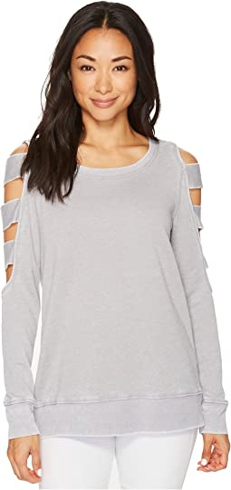 Allen Allen Open Cut Stripe Sleeve Top