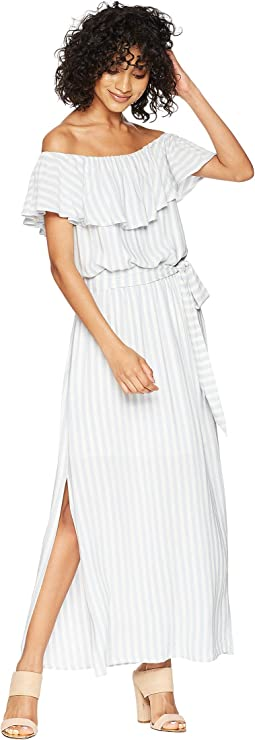 Off Shoulder Ruffle Edge Maxi Dress