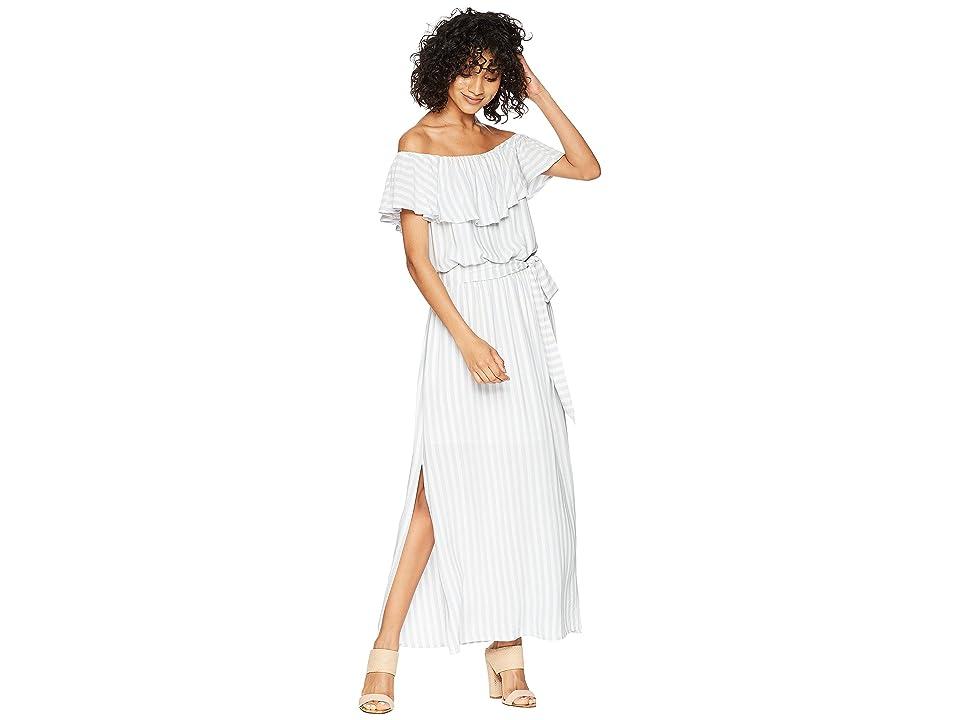 1.STATE Off Shoulder Ruffle Edge Maxi Dress (Wind Surf) Women