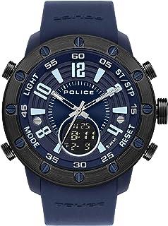 ساعة بوليس للرجال - انالوج / رقمية كوارتز مع سوار سيليكون PL.16015JPBLU-03P