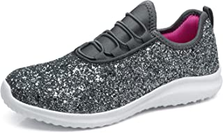 aeepd Women's Glitter Sneakers Outdoor Fashion Jogger Shoes Lightweight Sparkle Casual Slip On Platform Sneakers