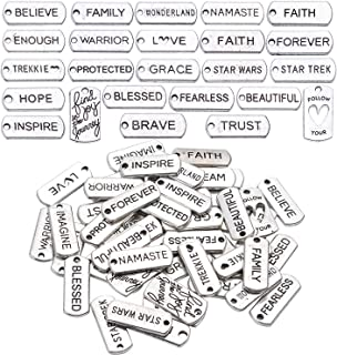 50 Pieces Mixed Inspirational Words Charms Pendants Tibetan Silver Craft Supplies Inspiration Message Beads Charms for Jewelry Making DIY Handmade Craft, 25 Types