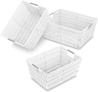 Whitmor Rattique Storage Baskets - White (3 Piece Set)