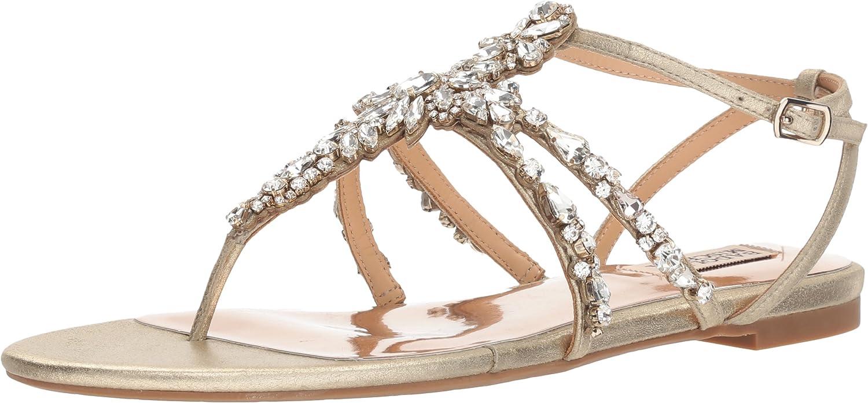 Badgley Mischka Damen Hampden Hampden Flache Sandale Platin 36 M EU  am besten kaufen