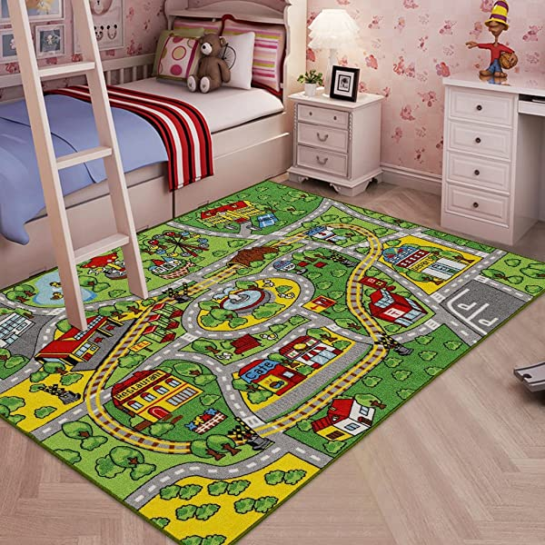Jackson Kid Rug Carpet Playmat For Toy Cars And Train Huge Large 52 X 74 Play Area Rug With Rubber Backing Kids Race Track Rug For Toddlers Baby And Children Playing And Learning