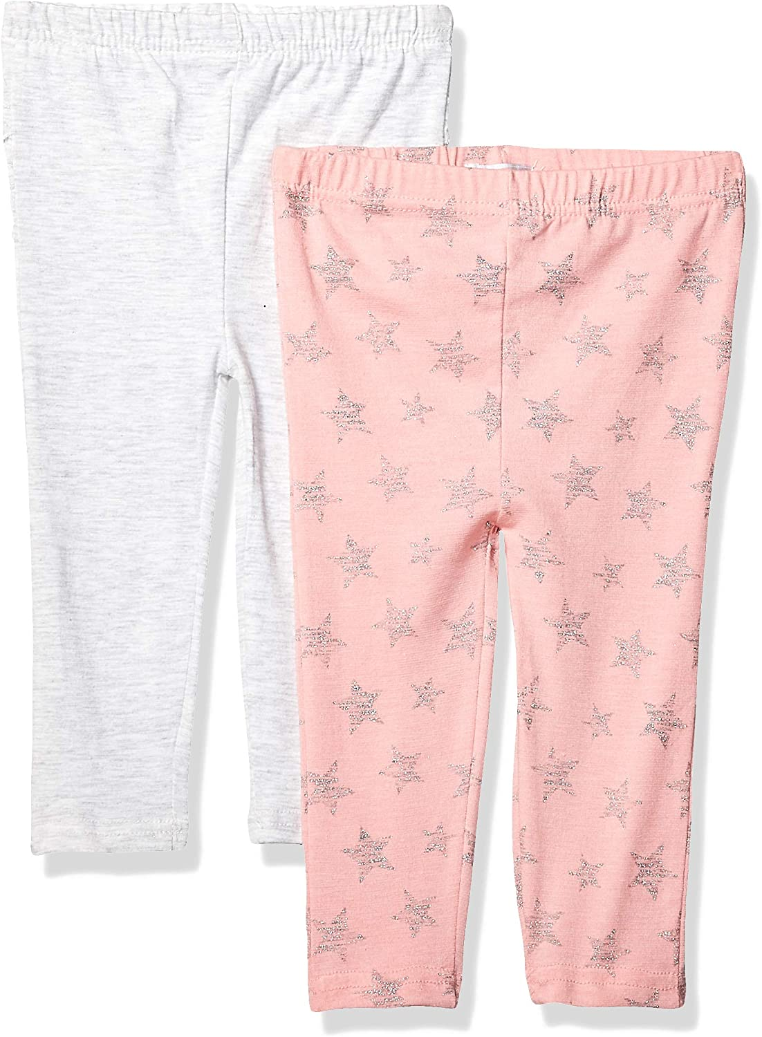 Quiltex Baby Girls' 2 Pack Printed Leggings with Elastic Waistband