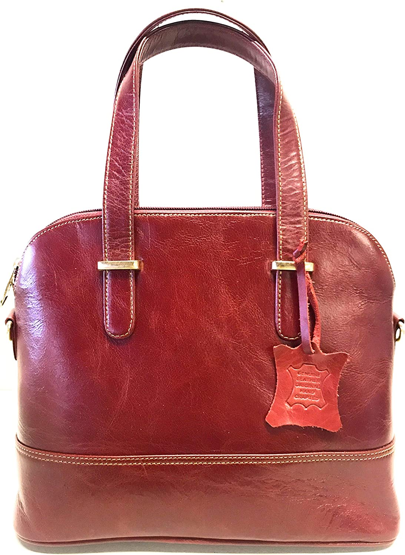 Ajit Creation 12 -Inch - Cherry Genuine Leather Handbag - Ladies Bag - with a Handle