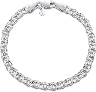 Amberta 925 Sterling Silver 4.5 mm Chunky Double Curb Chain Bracelet Size: 7 7.5 8 inch