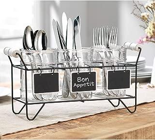 Kitchen Utensil Cutlery Organizer- Flatware Caddy Holds Forks, Spoons, Spatula - Vintage Flatware Organizer Set - Silverware Holder For Kitchen Countertop Storage