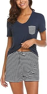 Adornlove Sleepwear Sets Womens Knit Pj Short Sleeve Pajamas 2PCS Lounge Nightwear S-XXL