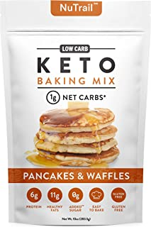 NuTrail™ - Keto Pancake & Waffles Low Carb Food Baking Mix | 1g Net Carb Per Serving | Gluten Free | No Added Sugar | Perf...