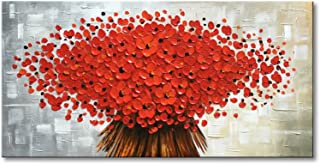 Winpeak Art Hand Painted Abstract Canvas Wall Art Modern Textured Red Flower Oil Painting Contemporary Artwork Floral Hangings Stretched and Framed Ready to Hang (48