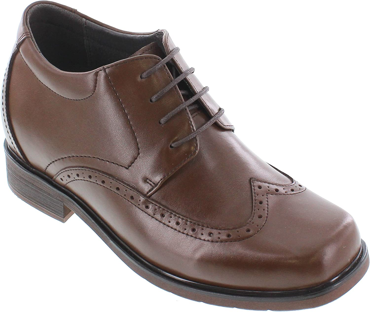 CALTO Men's Invisible Height Increasing Elevator Shoes - Dark Brown Premium Leather Wing-tip Lace-up Casual Derby Oxfords - 3.2 Inches Taller - T52710