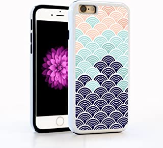 iPhone 6 Case, Japanese Wave Abstract Pattern in Blue, Turquoise, & Pink, Impact Resistant White PC with Black Rubber inside. Protective Cover for Apple 4.7-inch