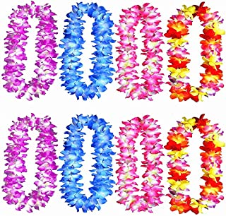 Yansanido Hawaiian Leis Hula Dance Garland Artificial Flowers Neck Loops(8pcs,4color,Each Color 2pcs)