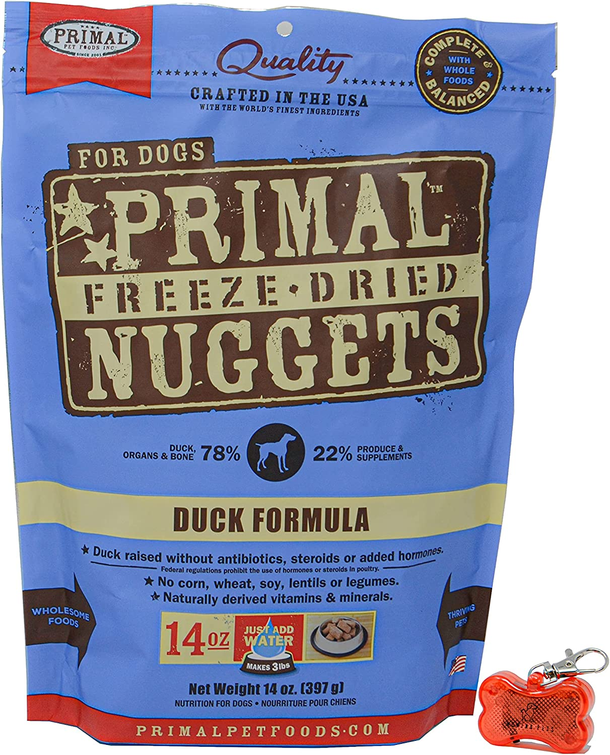 Primal Pet Food - Freeze Dried Duck Nuggets Dog Food 14oz Bag with WoWing Pets Pendant