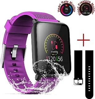 SZHAIYU Blood Pressure Heart Rate Monitor Smart Watch Android iOS IP67 Waterproof Sport Fitness Trakcer Watch Men Women Smartwatch (Purple)