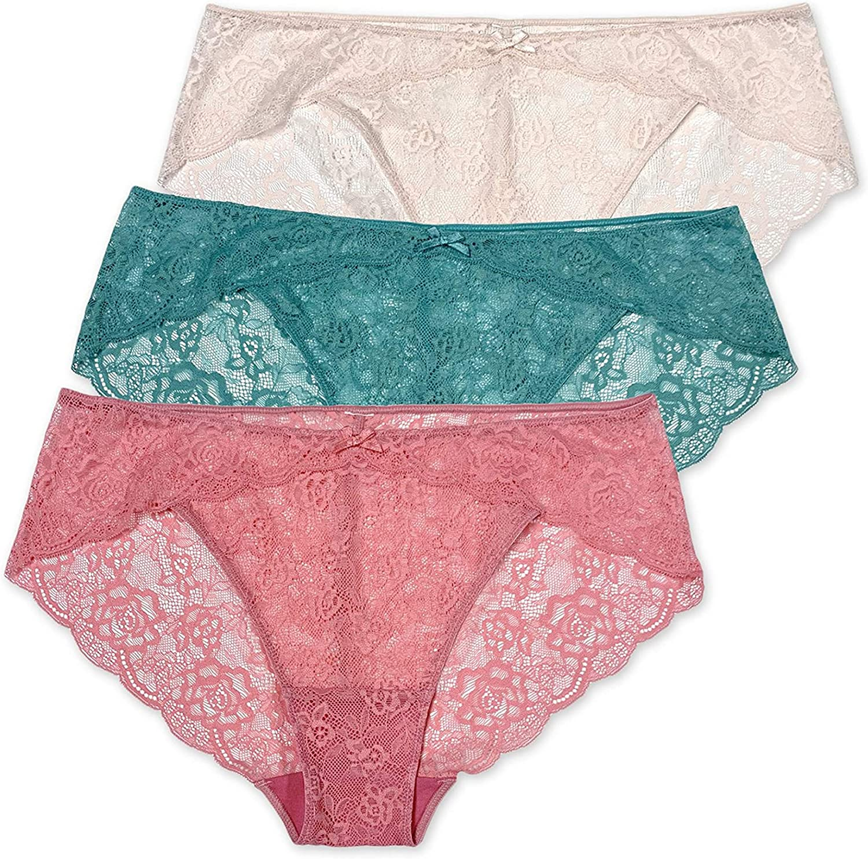 Treasures Intimates Women's 3pk All Lace Scallop Trim Bikini Panties