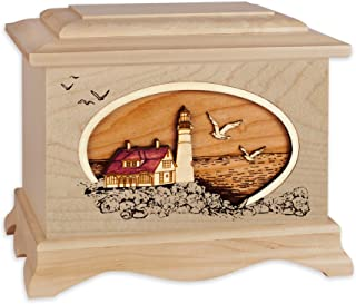 Wooden Cremation Urn - Ambassador Shape with Coastal Lighthouse 3-Dimensional Inlay Wood Art Memorial - Funeral Urns for Adults (Portland Head Light, Maple)