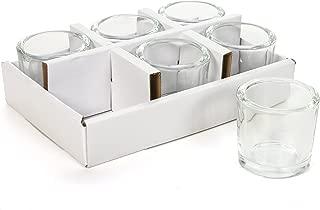 Hosley's Set of 6 Heavy Clear Chunky Glass LED Tea Light, Votive Candle Holders - 2.4