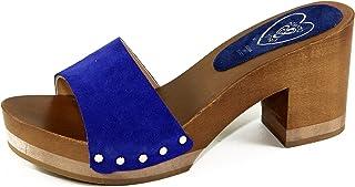 Silfer Shoes - Zoccolo in Vero Legno e Pelle di camoscio, Colore Blue