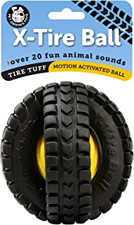 Pet Qwerks Animal Sounds X-Tire Ball Dog Toy - Rugged Tires with a Sound Ball in the Center, Interactive Toys that Make No...