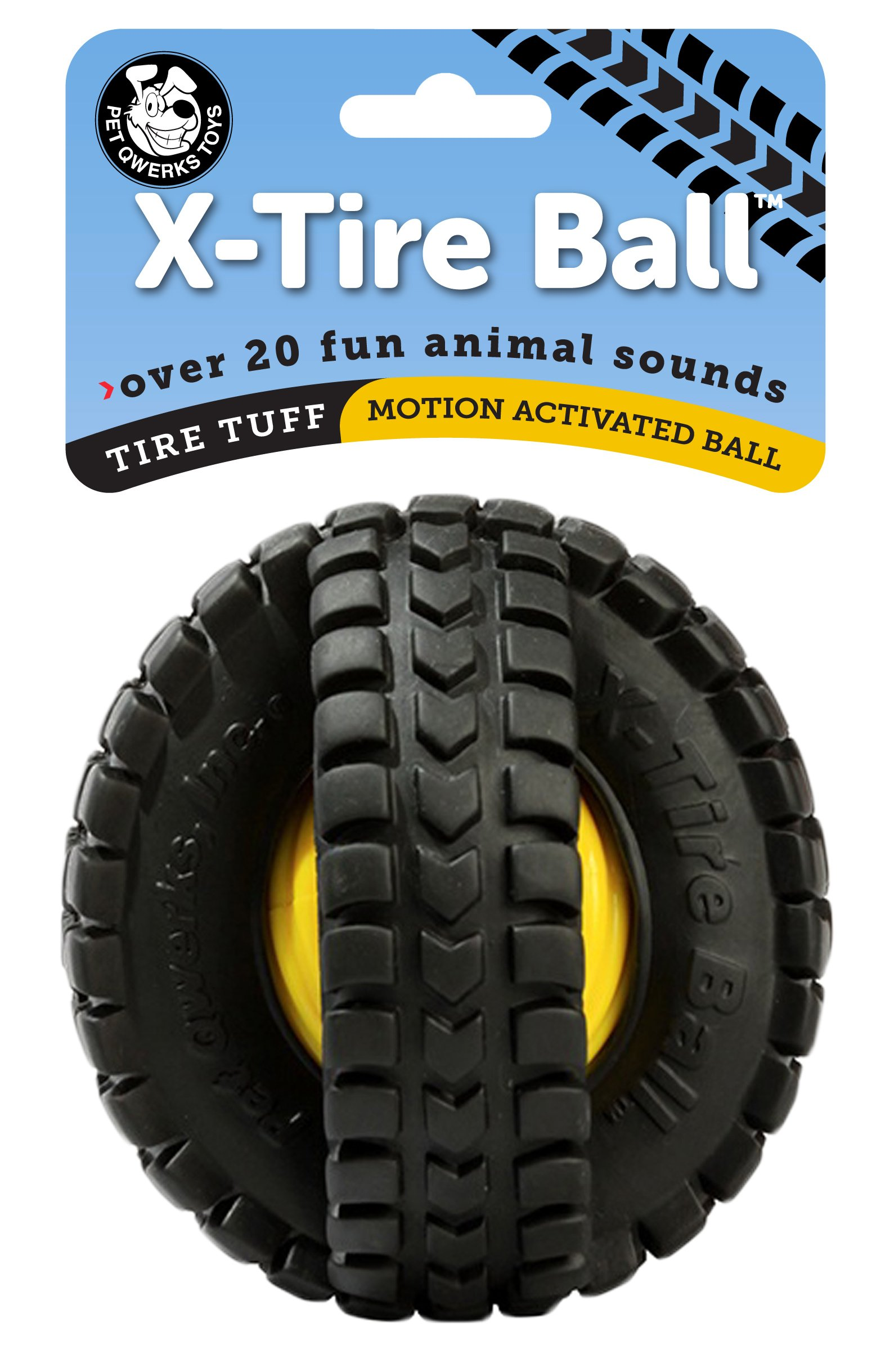 Pet Qwerks X Tire Ball Interactive Dog Toy Rugged Tires with a Sound Ball in The Center, Interactive Toys That Make Noise, Toys for Boredom   Best