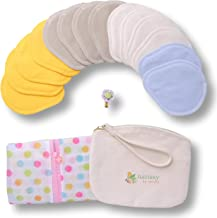 Discos de lactancia lavables de Algodón Orgánico, 14 Almohadillas de Enfermería Reutilizables de tela suaves y cómodos HECHAS EN LA UE; para lactancia materna; EXTRA Bolsa de Lavandería y de Almacenar