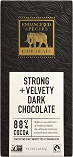 Endangered Species Panther, Fair Trade Dark Chocolate Bar, 88% Cocoa - 3 Ounce Bars (12 Pack)