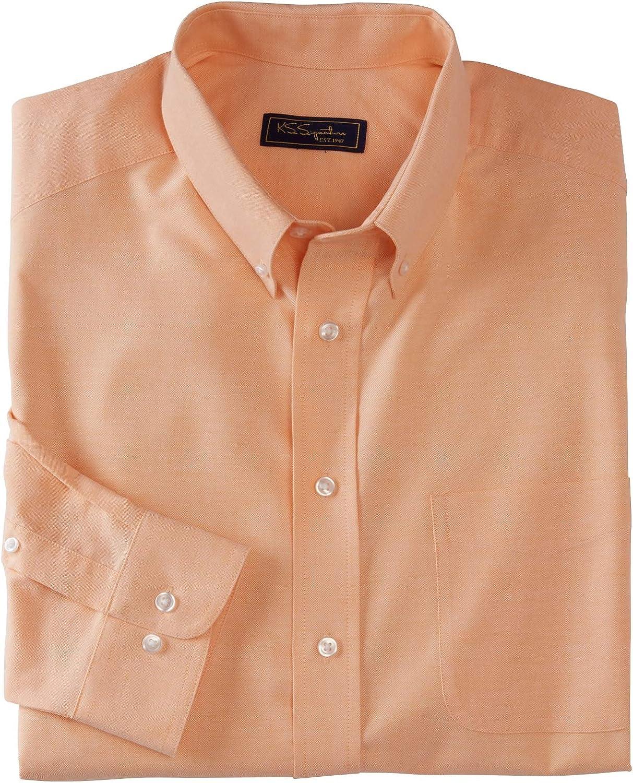 KingSize KS Signature Men's Big & Tall Wrinkle-Resistant Oxford Dress Shirt - Tall - 22 35/6, Orange Melon