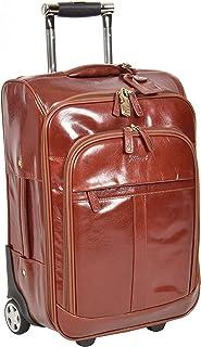 Leather Cabin Luggage Travel Wheels Telescopic Handles Bag Tokyo Cognac